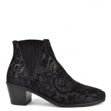 Sara Black Suede and Velvet Ankle Boot