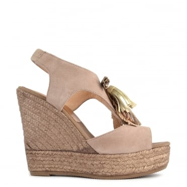 Taupe Suede Wedge Sandal