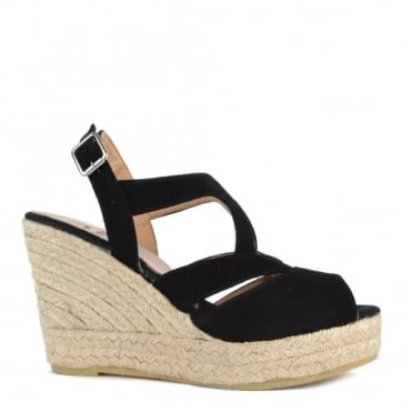 Viena Black Wedge Espadrille Sandal
