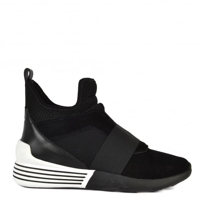 Kendall & Kylie Braydin Black Hi-Top Trainers in Black Suede and Mesh.