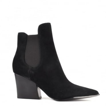 Finley Black Suede Pointed Block Heel Boot