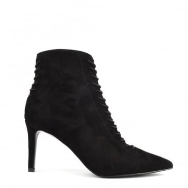 Liza Black Suede Lace Up Boot