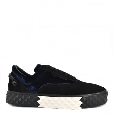 Reign Black and Blue Velvet Platform Trainer