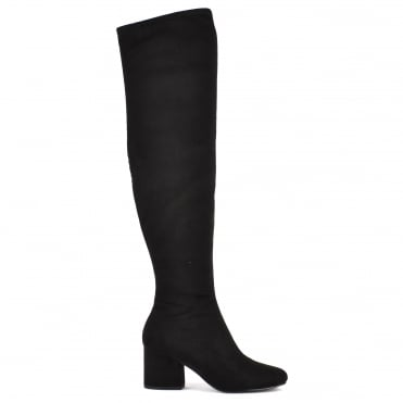 Sophia Black Suede Knee High Boot