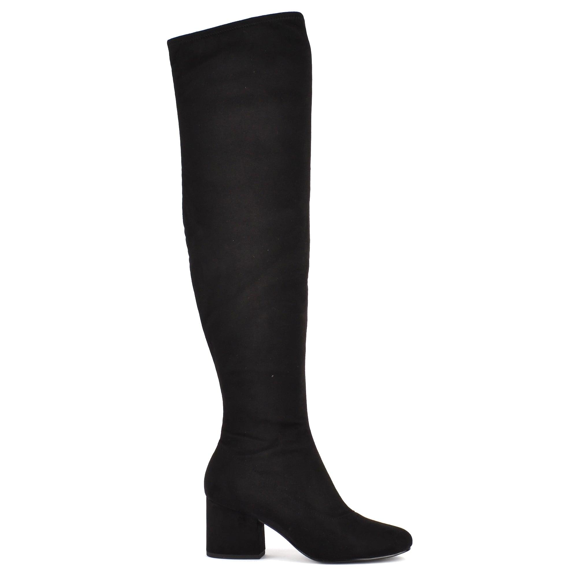 Kylie Kayla Black Suede Knee Boots