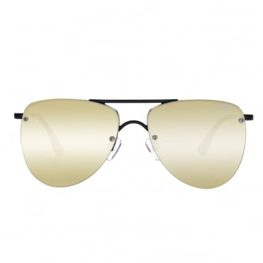 The Prince Black Matte With Gold Lenses Aviator Sunglasses