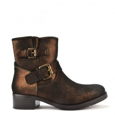 Bronze Shimmer Leather Ankle Boot