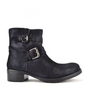 Violet Shimmer Leather Ankle Boot