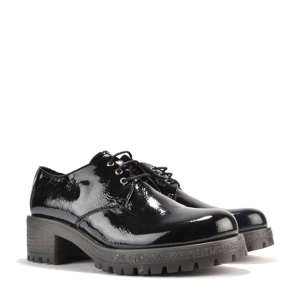 Mally   Black Patent Heeled Lace-Up Shoe
