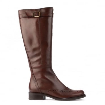 Brown Leather Wingtip Detail High Boot