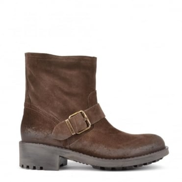 Brown Suede Buckle Slip On Ankle Boot