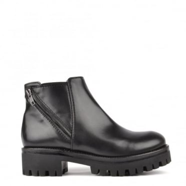 Elasticated Ankle Black Leather Platform Boot