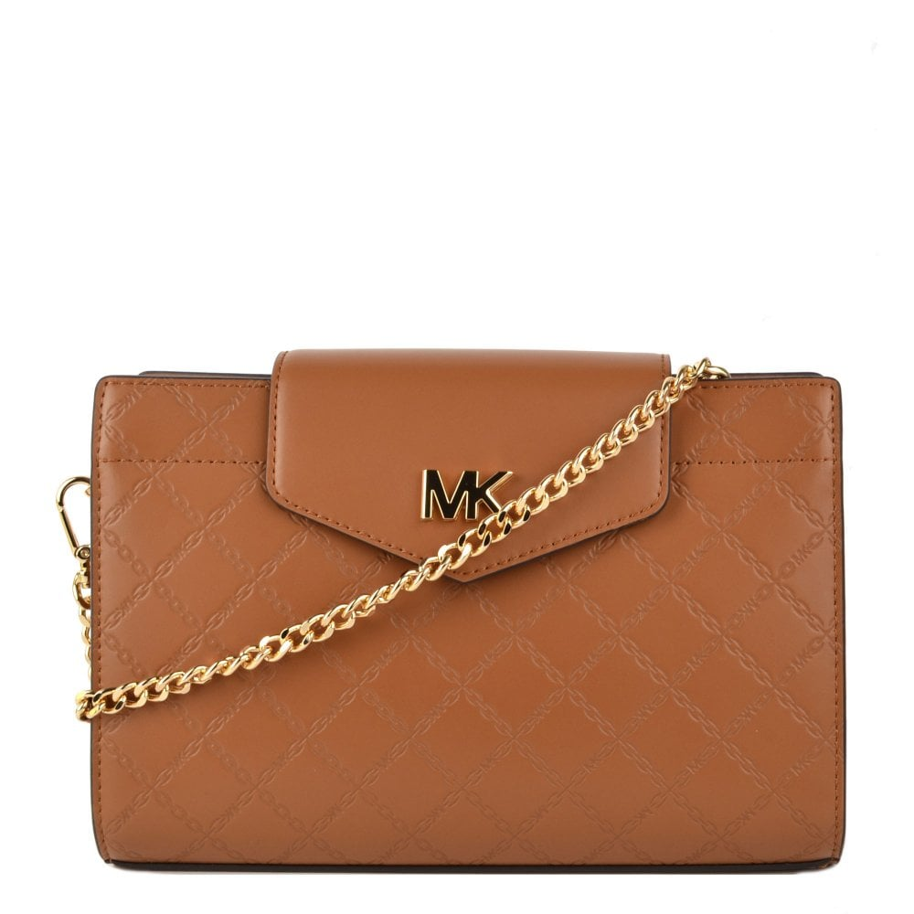 8d3f4370794561 MICHAEL by Michael Kors Acorn Large Embossed Leather Crossbody Clutch