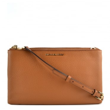 Acorn Leather Double Zip Crossbody Bag