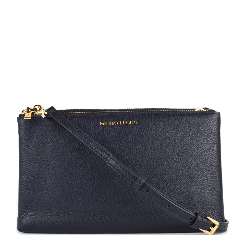 b4bbe8344197 MICHAEL by Michael Kors Adele Admiral  Navy  Leather Double Zip Crossbody  Bag