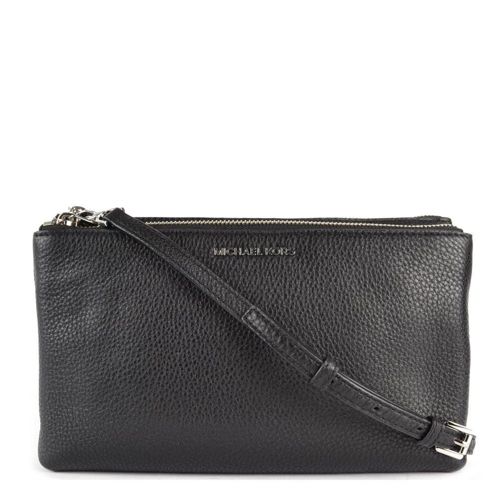 MICHAEL by Michael Kors Adele Black Double Zip Crossbody Bag With Silver c569c3831b56d