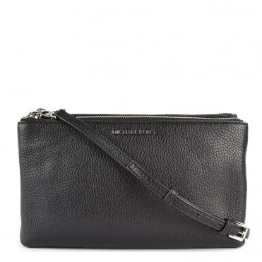 Adele Black Double Zip Crossbody Bag