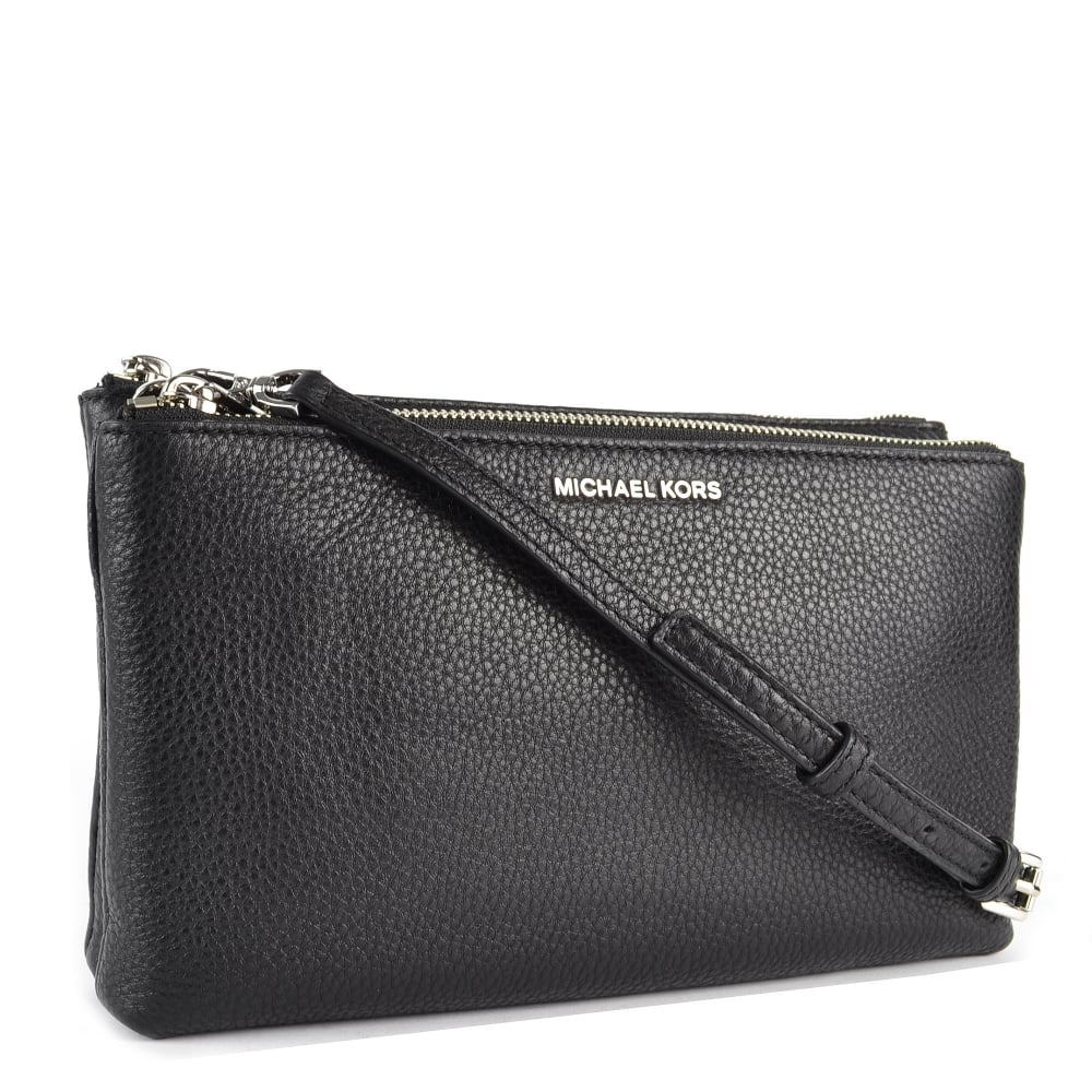 b41895af3 MICHAEL by Michael Kors Adele Black Double Zip Crossbody Bag With Silver