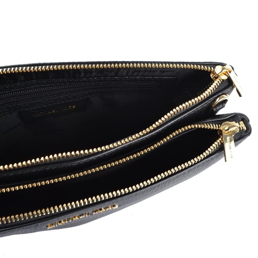MICHAEL MICHAEL KORS Adele Black Leather Double Zip Crossbody Bag