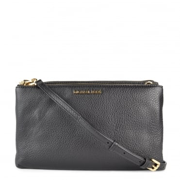 Adele Black Leather Double Zip Crossbody Bag