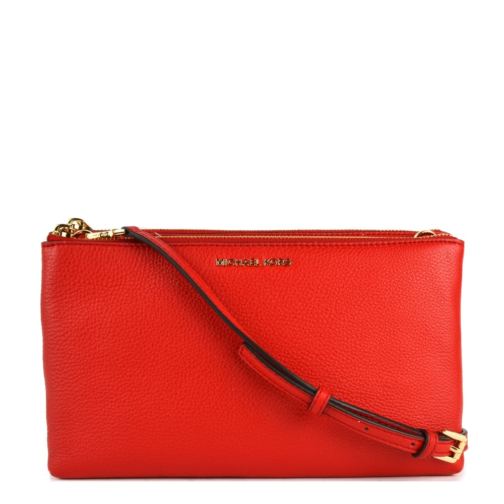 38746d296f200d MICHAEL by Michael Kors Adele Bright Red Double Zip Crossbody Bag