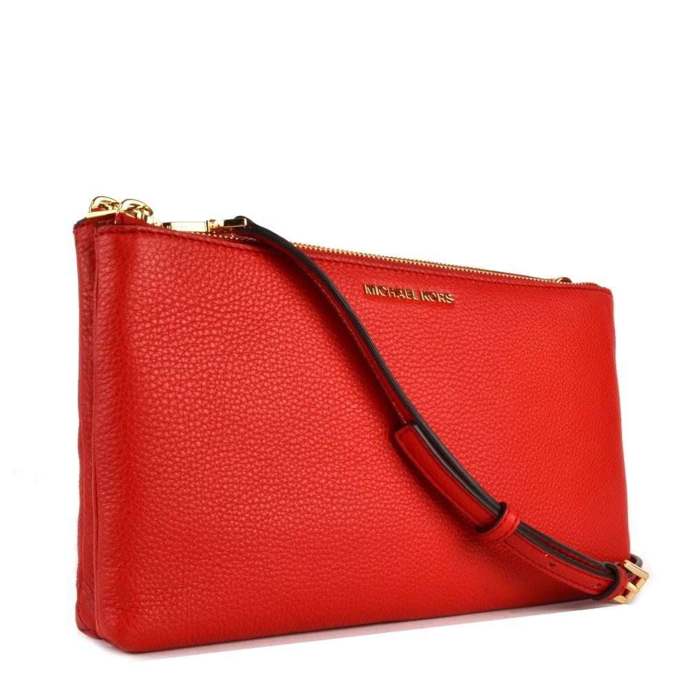 Adele Bright Red Double Zip Crossbody Bag