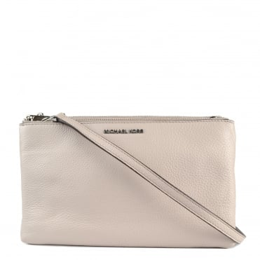 Adele Cement Double Zip Crossbody Bag