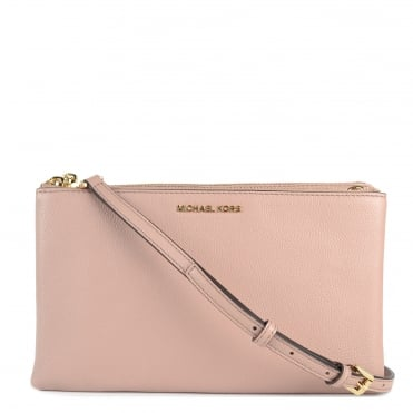 Adele Fawn 'Pink' Double Zip Crossbody Bag