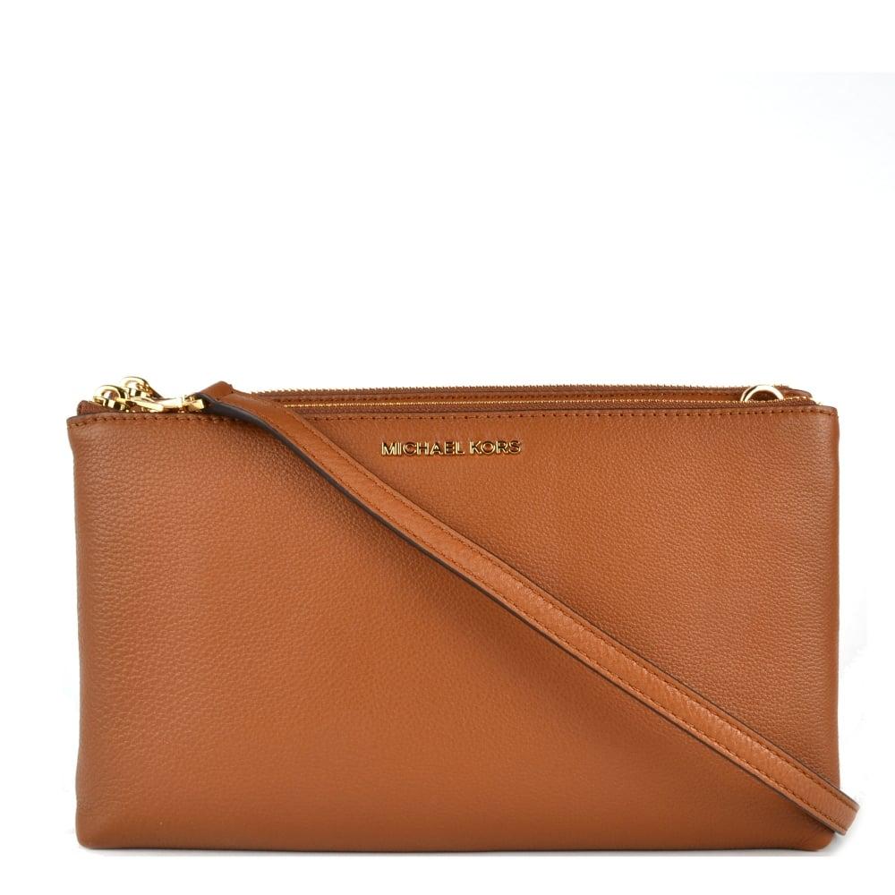 798ba821122f MICHAEL by Michael Kors Adele Luggage  Tan  Double Zip Crossbody Bag