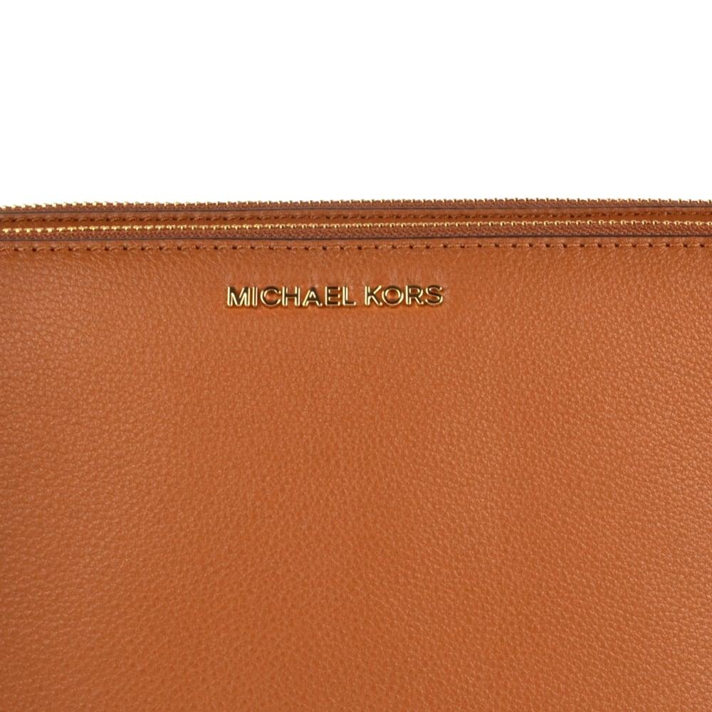6ff2062306ce MICHAEL MICHAEL KORS Adele Luggage  Tan  Double Zip Crossbody Bag