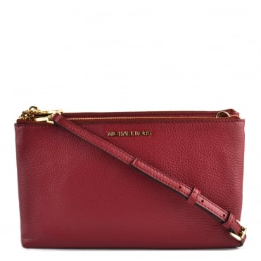 Adele Mulberry Leather Double Zip Crossbody Bag