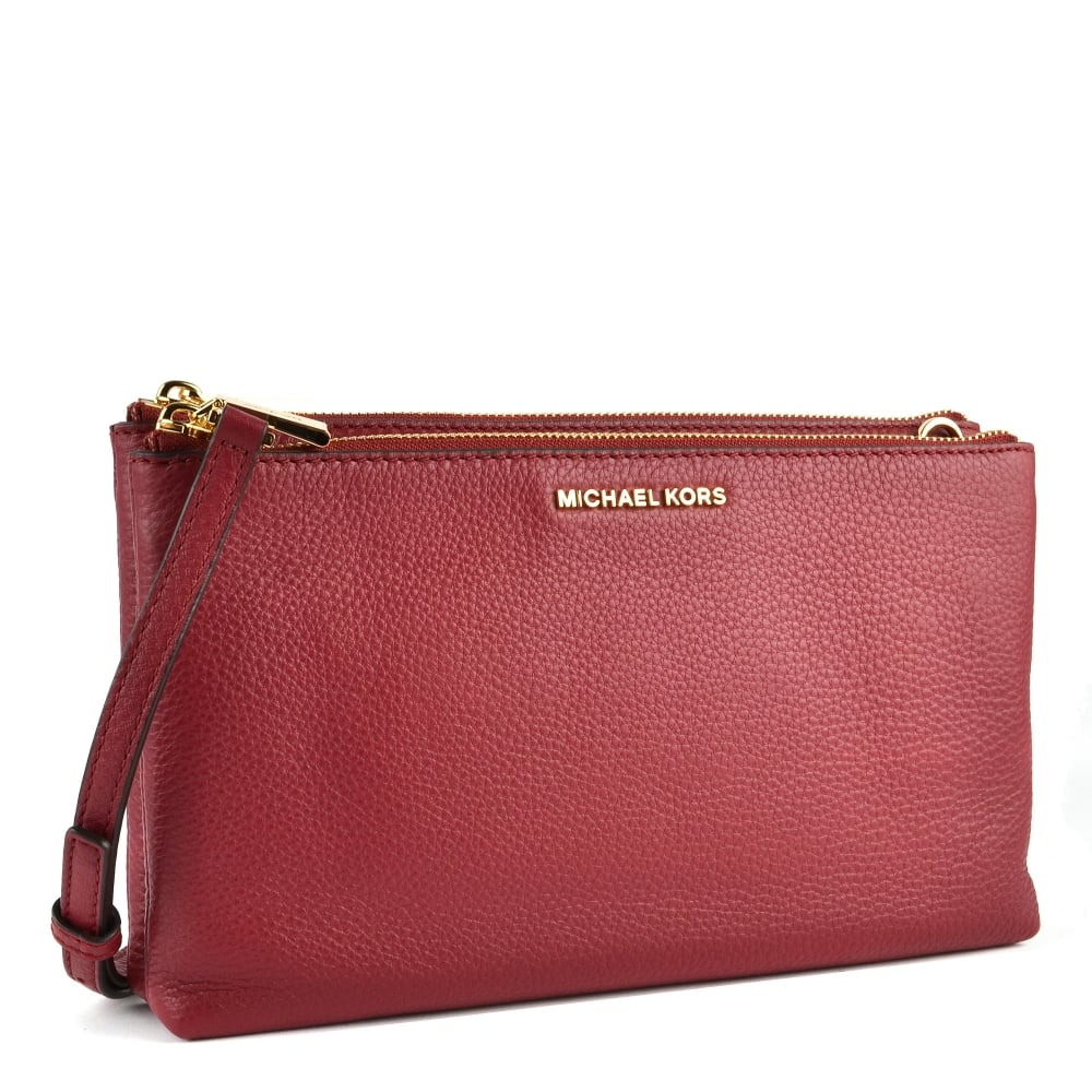 5ae043e51d3f MICHAEL by Michael Kors Adele Mulberry Leather Double Zip Crossbody Bag