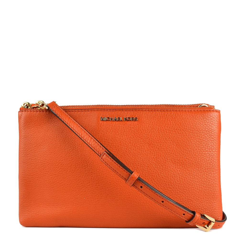 a7631615bc11f MICHAEL by Michael Kors Adele Orange Double Zip Crossbody Bag