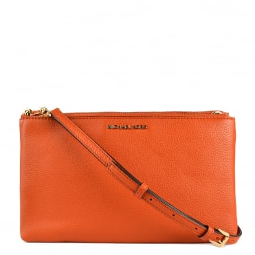 Adele Orange Double Zip Crossbody Bag
