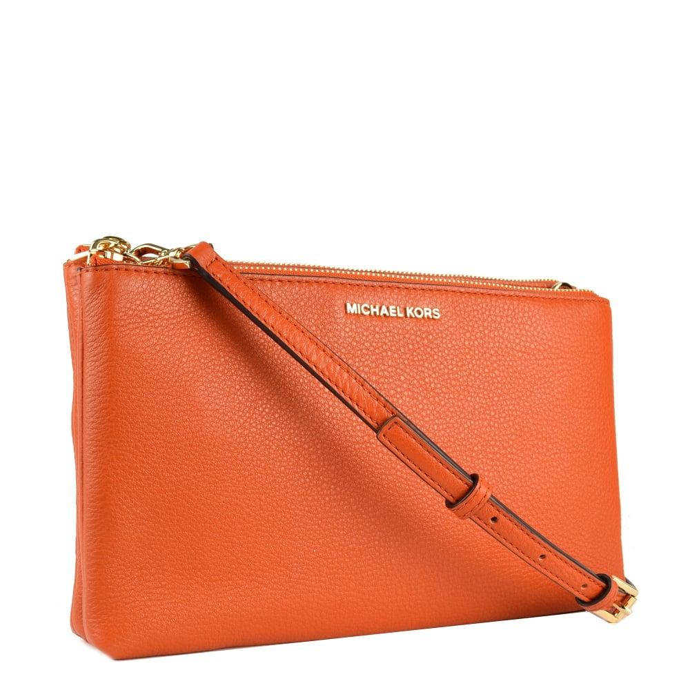 1d185f9bf476 MICHAEL by Michael Kors Adele Orange Double Zip Crossbody Bag