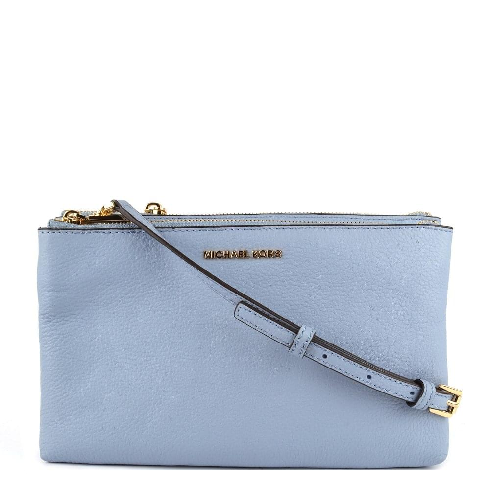 aab7538b8448 MICHAEL by Michael Kors Adele Pale Blue Leather Double Zip Crossbody Bag