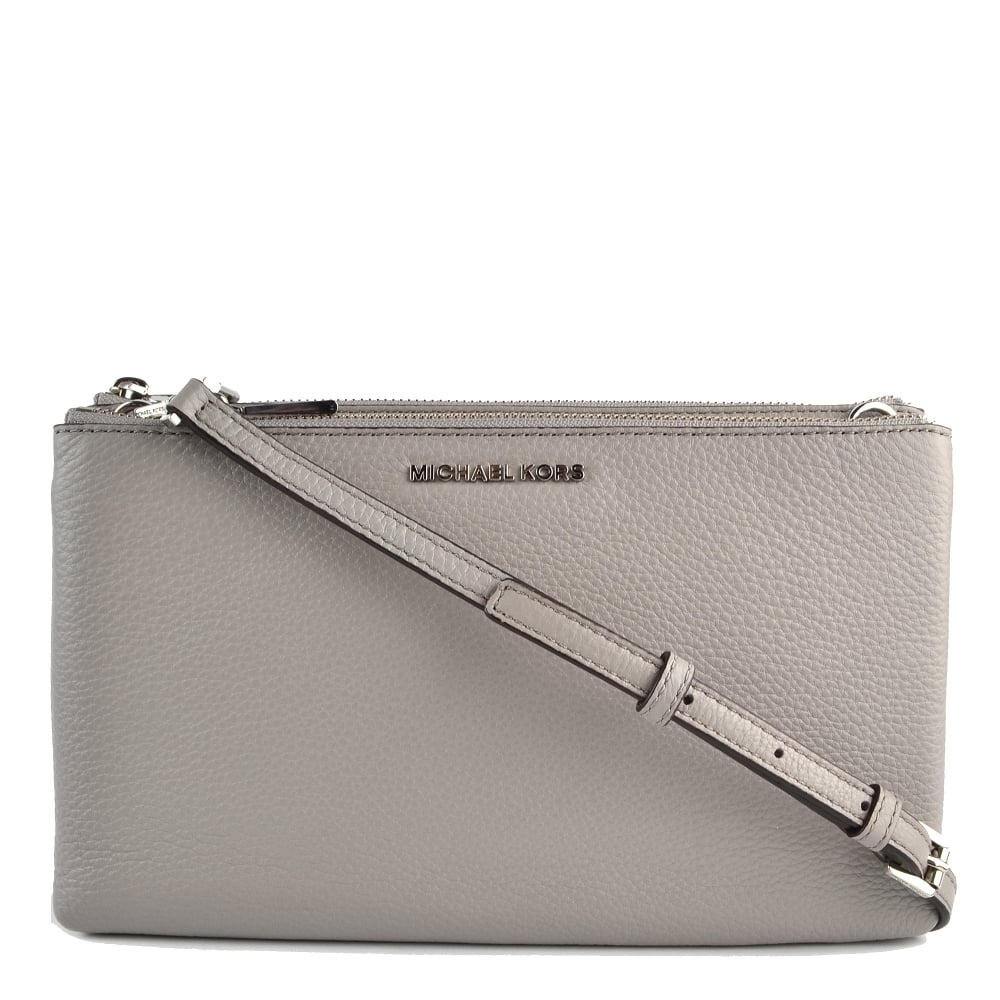 0c5dd823bab9 MICHAEL by Michael Kors Adele Pearl Grey Leather Double Zip Crossbody Bag