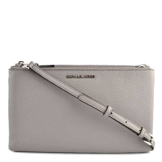 MICHAEL by Michael Kors Adele Pearl Grey Leather Double Zip Crossbody Bag