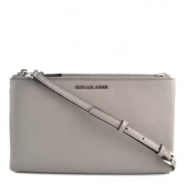 Adele Pearl Grey Leather Double Zip Crossbody Bag