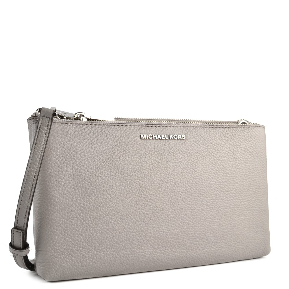 de0104bc33ce MICHAEL MICHAEL KORS Pearl Grey Leather Double Zip Crossbody Bag