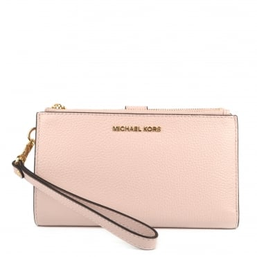 Adele Soft Pink Leather Double Zip Wristlet