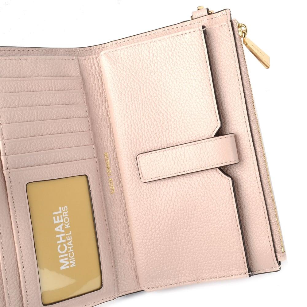 17614347068e Adele Soft Pink Leather Double Zip Wristlet