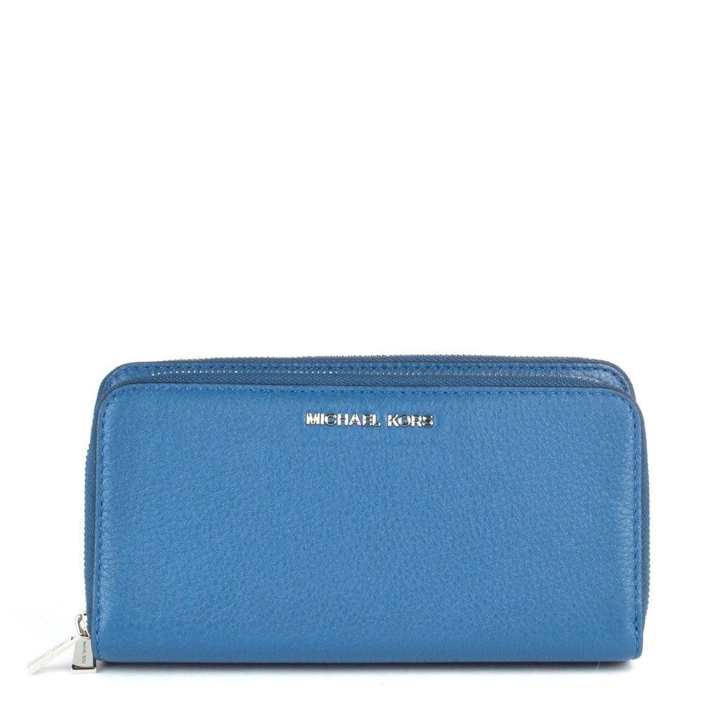 27d8e646e28e MICHAEL by Michael Kors Adele Steel Blue Double Zip Wallet - Women ...