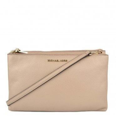 Adele Truffle Double Zip Crossbody Bag
