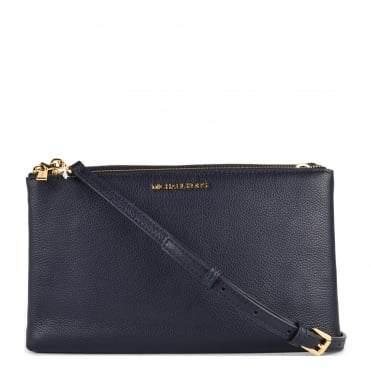Admiral 'Navy' Leather Double Zip Crossbody Bag