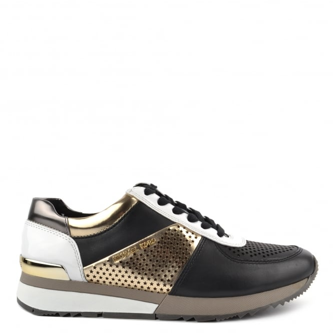 MICHAEL by Michael Kors Allie Black and Pale Gold Perforated Trainer