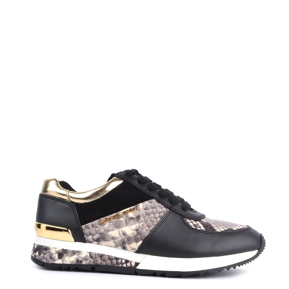 37f4aac83fb MICHAEL by Michael Kors Allie Black and Python Trainer
