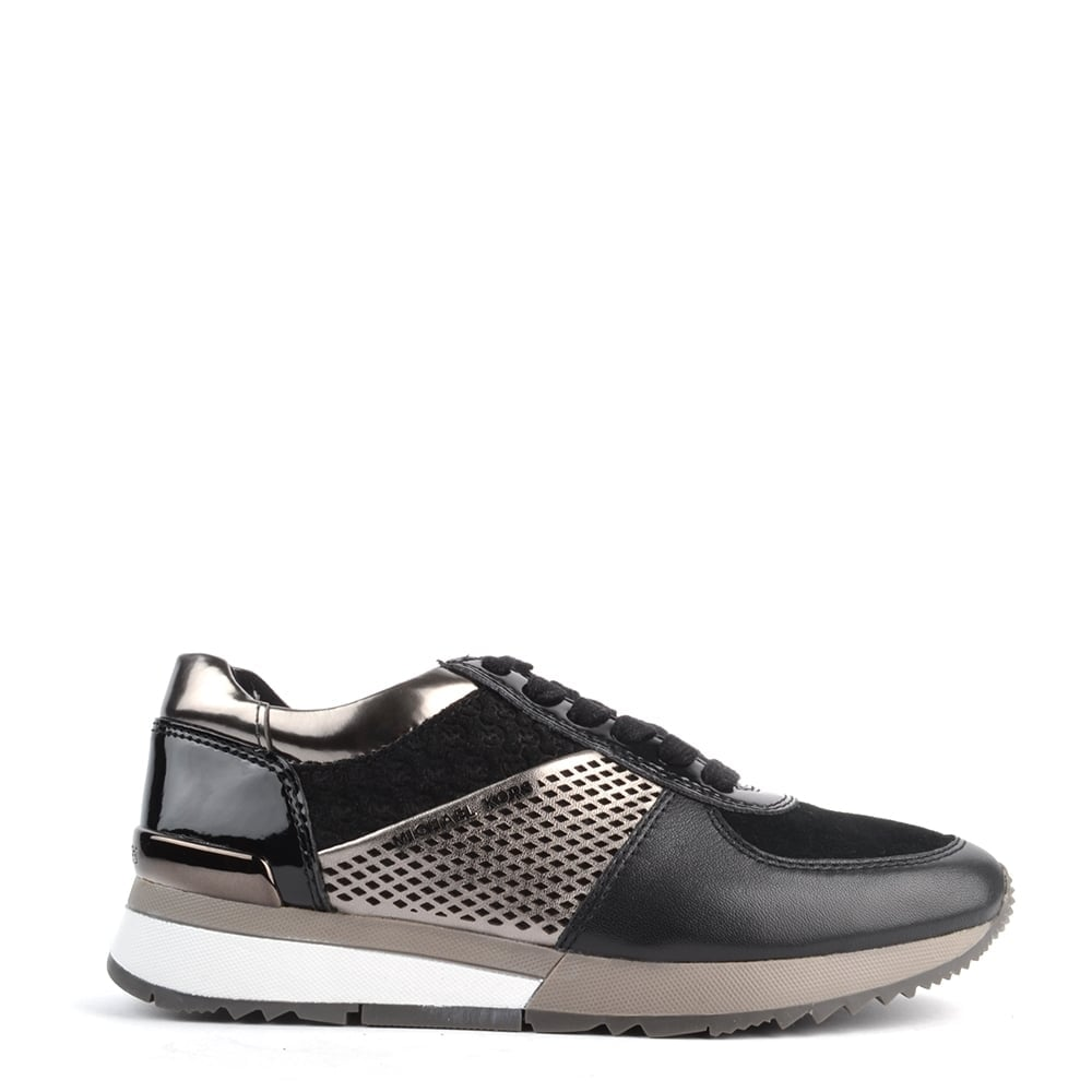 MICHAEL Michael Kors Allie Black and Gun Metal Trainer