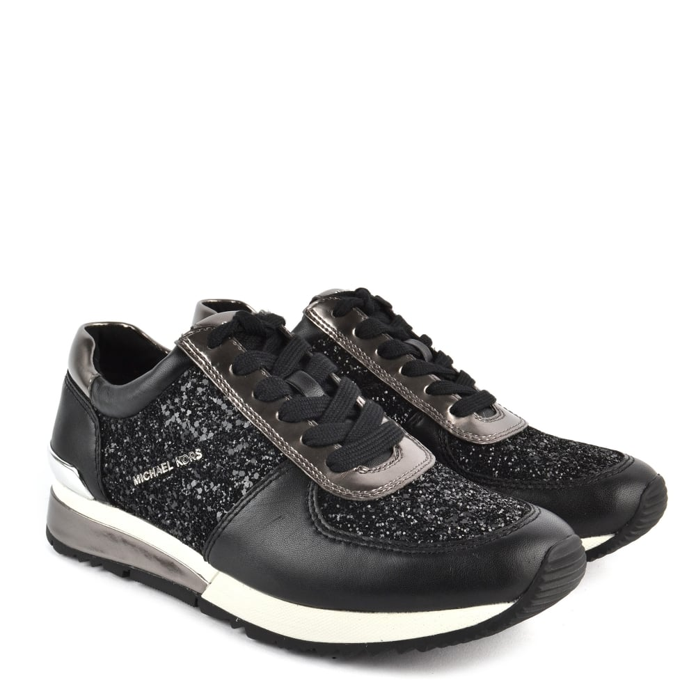3ab00f10bfd9 MICHAEL MICHAEL KORS Allie Black Glitter and Gunmetal Trainer