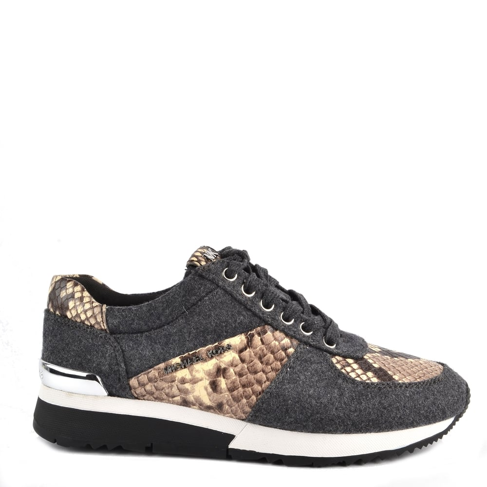 f3f95ded895fc MICHAEL by Michael Kors Allie Charcoal Wool and Python Print Trainer